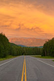 Liard River valley Alaska Highway BC Canada sunset royalty free stock photography