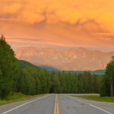Liard River valley Alaska Highway BC Canada sunset Stock Image