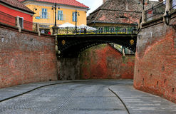 Liars bridge in the street of Sibiu old town, Romania Stock Photo