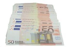 Liasse de cinquante factures d'euro image libre de droits