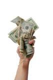 Liasse de fixation de main d'argent comptant photo stock