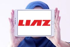 LIAZ trucks manufacturer logo. Logo of LIAZ trucks manufacturer on samsung tablet holded by arab muslim woman. LIAZ is a defunct Czech and Czechoslovak Stock Photo