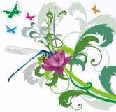 Libélula azul no fundo floral ilustração do vetor