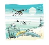 Libélula com hotdog, axolot ambistomy e peixes e tubarões inoperantes na costa de um reservatório sob o sol brilhante ecological ilustração do vetor