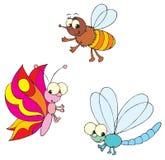 Libélula, mariposa y abeja Imagen de archivo libre de regalías