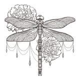 Libélula preta Aeschna Viridls e peônias Projeto do t-shirt Isolado no fundo branco Esboço da tatuagem da libélula ilustração do vetor