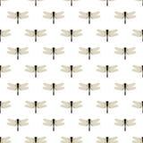 Libélula Teste padrão sem emenda com as libélulas no branco Fotografia de Stock Royalty Free
