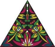 Libélula tradicional china oriental de la flor del triángulo del modelo ilustración del vector