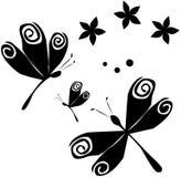 Libélulas & flores (B&W) Imagens de Stock Royalty Free