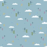 Libélulas do teste padrão no céu ilustração stock