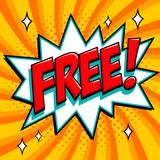 Libérez - le mot de style de bande dessinée sur un fond orange Bannière gratuite dans le style comique d'art de bruit Bannière d' Images stock
