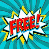 Libérez - le mot de style de bande dessinée sur un fond de vert bleu Bannière gratuite dans le style comique d'art de bruit Étiqu Photo stock