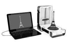 Libérez le scanner de bureau moderne debout de la maison 3D relié à l'ordinateur portable illustration de vecteur