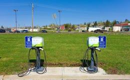 libérez les stations de charge pour des véhicules dans le Canada du nord Image stock