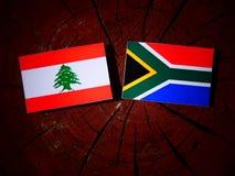 Libańczyk flaga z południe - afrykanin flaga na drzewnym fiszorku odizolowywającym Zdjęcia Stock