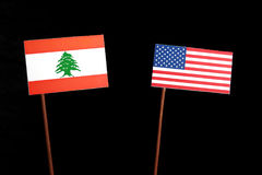 Libańczyk flaga z usa flaga na czerni fotografia royalty free