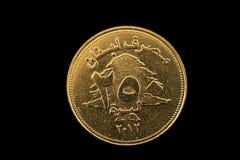 Libańczyka 250 liwry ukuwają nazwę odosobnionego na czerni Obrazy Stock