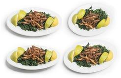 Libański jedzenie Gotuję hindbeh z smażącą cebulą i cytryną odizolowywającymi na bielu, ścinek ścieżka Zawierać fotografia royalty free