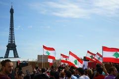 Libanês que demonstra em Paris Imagens de Stock