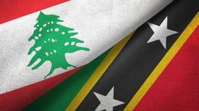Liban, święty i dwa flagi tekstylny płótno, tkaniny tekstura royalty ilustracja