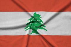 Liban flaga przedstawia na sport sukiennej tkaninie z wiele fałdami Sport drużyny sztandar obraz royalty free