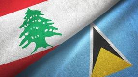 Liban Lucia i święty dwa flagi tekstylny płótno, tkaniny tekstura ilustracji