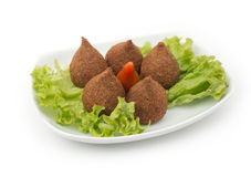 Libanees Voedsel van Fried Kibe Isolated op wit royalty-vrije stock foto