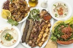 Libanees voedsel van Mengelingsgrill van vlees, kabab en taouk stock afbeelding