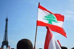 Libanes som visar i Paris Royaltyfri Fotografi
