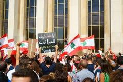 Libanes som visar i Paris Arkivfoto