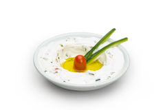 Libanesische Nahrung des Labneh Joghurtkäses Lizenzfreie Stockbilder