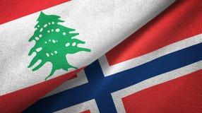Libanon en Noorwegen twee vlaggen textieldoek, stoffentextuur stock illustratie