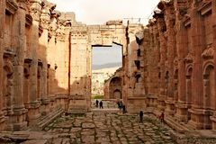 Libanon, 14 Februari, 2011 - Baalbek - ruïnes van oude Fenicische stad Royalty-vrije Stock Foto