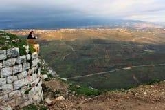 Libanon; Februari 12th, 2011 - fördärvar av den Beaufort slotten i Libanon Arkivbild