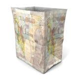 Libbra britannica del sacco di carta indietro Fotografia Stock