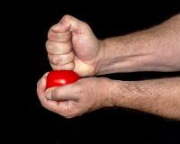 Libbre della mano su una palla di sforzo Fotografia Stock Libera da Diritti