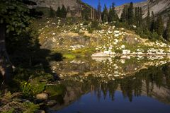 Libby Lake Sunrise in the Snowy Range Mountains of Wyoming stock photography