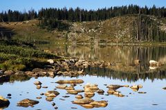 Libby Lake Sunrise in the Snowy Range Mountains of Wyoming stock photo