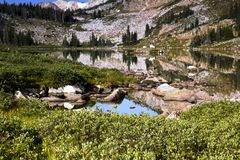 Libby Lake Sunrise in the Snowy Range Mountains of Wyoming royalty free stock photos