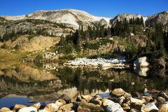Libby Lake Sunrise in the Snowy Range Mountains of Wyoming royalty free stock photo
