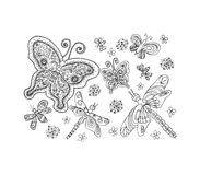 Libel en vlinder, vectorillustratie Stock Afbeelding