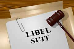 Libel Suit - legal concept. 3D illustration of `LIBEL SUIT` title on legal document Royalty Free Stock Images