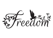 Libellé de la conception, liberté, décalques de mur illustration libre de droits