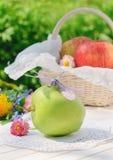 Libelle auf grünem Apfel im Garten Stockbild
