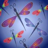 Libelle-Hintergrund im Blau Stockfotos