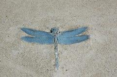 Libelle im Beton Stockbild