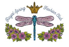 Libelle, Schmetterling, Frühling, Rosen Bienenkrone blüht Stickerei Stockbild