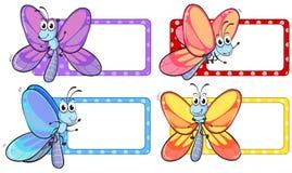 Libellen op vierkante etiketten Stock Afbeelding
