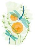 Libellen und Blumen stock abbildung