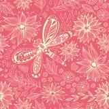 Libellen- und Blumengekritzelmuster Lizenzfreies Stockbild